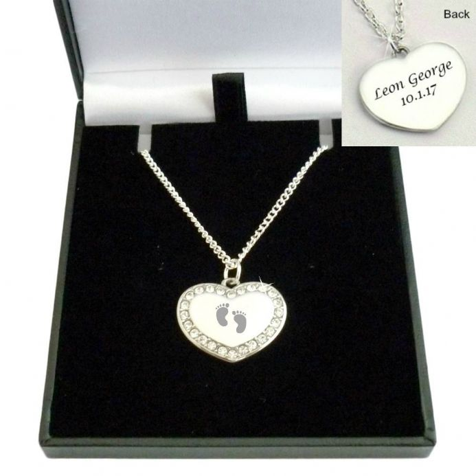 Baby Feet Necklace with Any Engraving on Heart Pendant | Someone Remembered